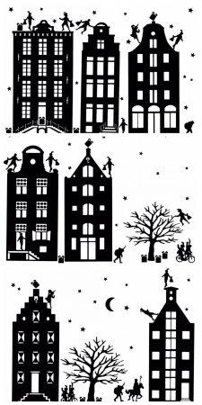 Huisjes met Sinterklaas en Kerst tafereel