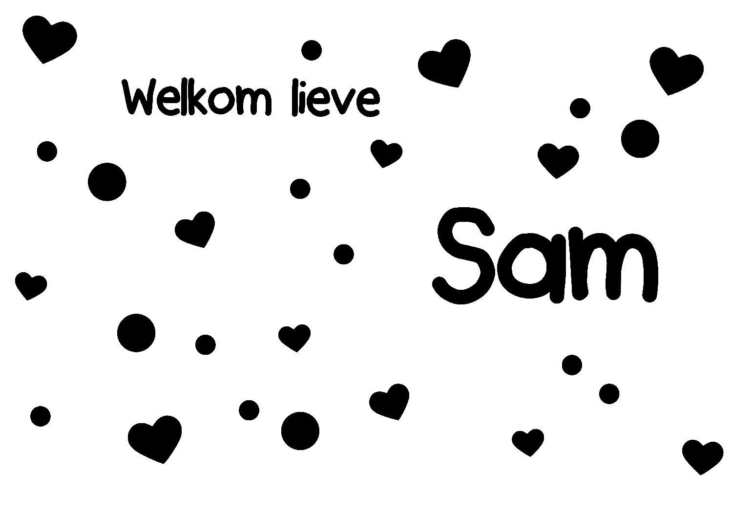 Geboorte sticker welkom lieve Sam